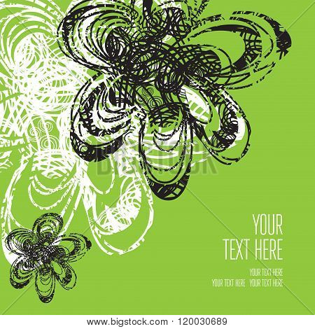 Vector Stylish Green Floral Background