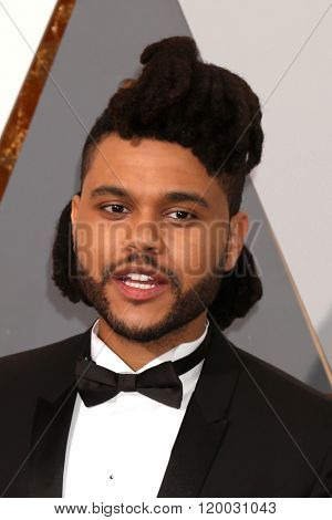 LOS ANGELES - FEB 28:  The Weeknd at the 88th Annual Academy Awards - Arrivals at the Dolby Theater on February 28, 2016 in Los Angeles, CA