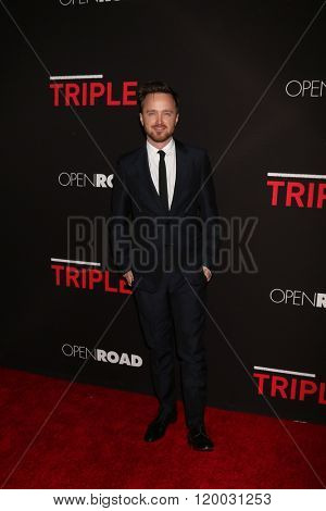 LOS ANGELES - FEB 16:  Aaron Paul at the Triple 9 Premiere at the Regal 14 Theaters on February 16, 2016 in Los Angeles, CA