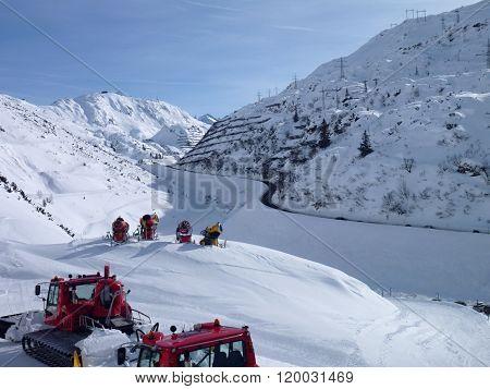 Winter Mountain Panorama Of St. Anton Am Arlberg