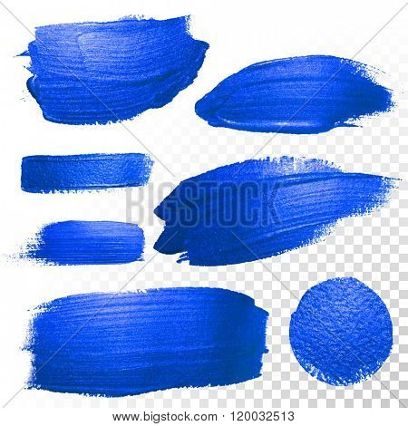 Deep blue watercolor brush strokes and dots. Abstract shape. Vector oil paint smear on white background