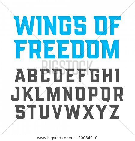Wings Of Freedom modern style uppercase font. Vector illustration.