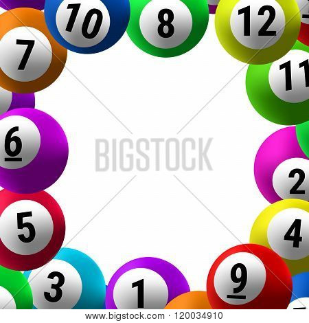 Frame of colored balls to bingo on a white background.