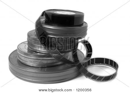 Movie Film Cans And Trailer (Black And White)