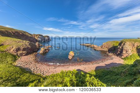 Rocky bay at St Abbs Head seascape Scotland. UK poster