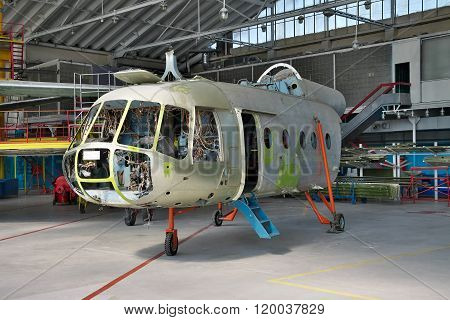 Helicopter Being Maintenanced