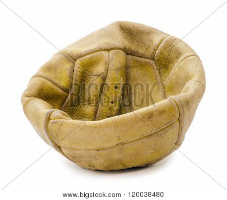 old deflated soccer ball