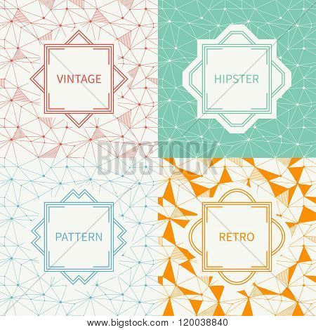 Set of geometric line hipster seamless pattern with triangle, circles. Reticulated abstract linear g