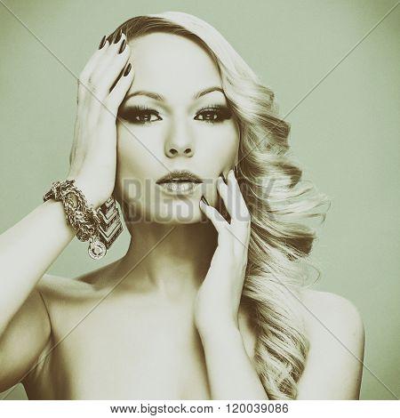 Beautiful blond woman.  Fashion photo