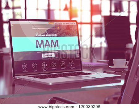 Laptop Screen with MAM Concept.