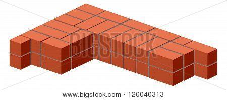 Brickwork. Masonry bricks in half. Construction of a brick wall. Brick stacking scheme