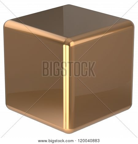 Cube geometric shape dice block basic box solid square brick figure simple minimalistic element single yellow golden shiny blank object