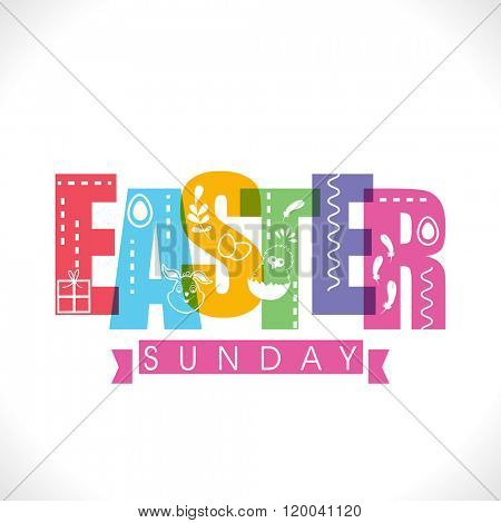 Elegant greeting card design with creative colorful text Easter Sunday on shiny grey background.