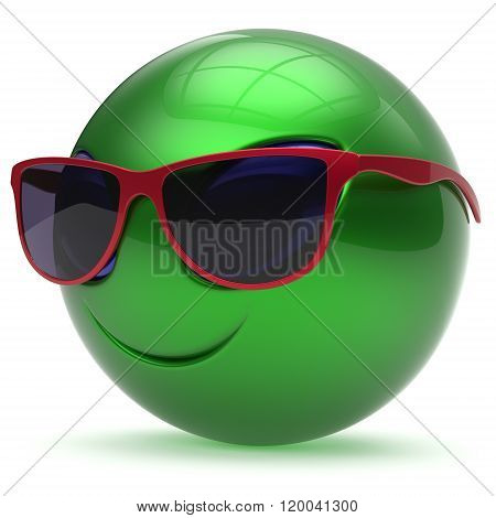 Smiley alien face sunglasses cartoon cute head emoticon monster ball green red avatar. Cheerful funny smile invader person character toy laughing eyes joy icon concept. 3d render isolated