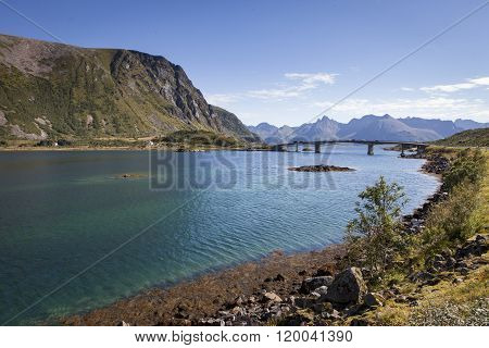 Picture of a bridge crossing a deep fjord at Lofoten islands