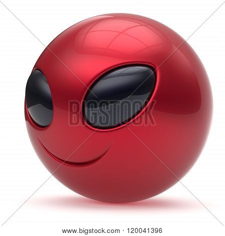 Smiley alien face head cartoon cute emoticon monster ball red black avatar. Cheerful funny smile invader person character toy laughing eyes joy icon concept