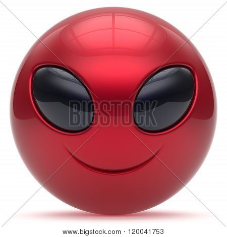 Smiley alien face cartoon cute head emoticon monster ball red black avatar. Cheerful funny smile invader person character toy laughing eyes joy icon concept