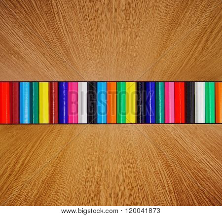 Multicolor Backdrop, Wood In Diminishing Perspective - Colorful Background Texture.