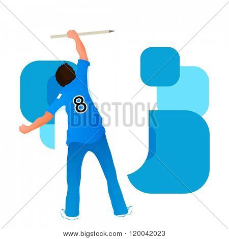 Illustration of a player holding wicket stumps on abstract background for Cricket Sports concept.