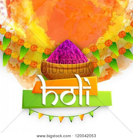 Elegant greeting card design with colour powder (Gulaal) on flowers decorated abstract background for Indian Colour Festival, Happy Holi celebration.
