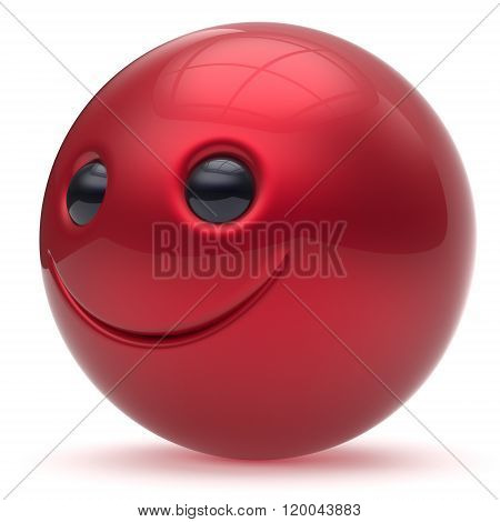 Smile face head ball cheerful sphere emoticon cartoon smiley happy decoration cute red. Smiling funny joyful person laughing joy character toy good avatar