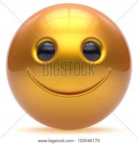 Smiling face head ball cheerful sphere emoticon cartoon smiley happy decoration cute golden yellow. Smile funny joyful person laughing joy character toy good avatar