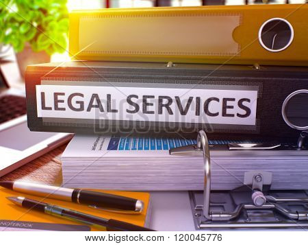Black Office Folder with Inscription Legal Services.