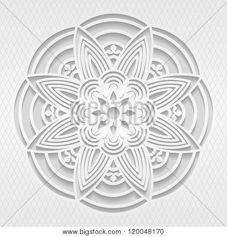 Seamless white 3D pattern floral motif east ornament indian ornament vector. Endless texture can be