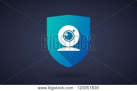 Long Shadow Shield Icon With  A Web Cam