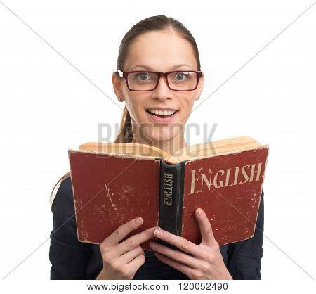 Nerd Woman Reading An English Book