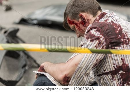 Injured Man Bleeding
