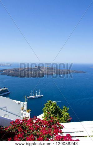 Beautiful scenic island of Santorini, Greece