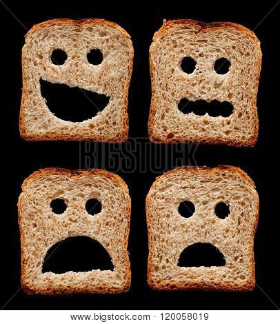 Happy, Worried, Shocked And Frightened Faces Made Of Bread Slices