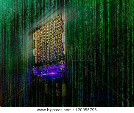 stack of hard drives store mainframe in matrix code