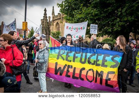 People March in Liverpool in Support of Refugees