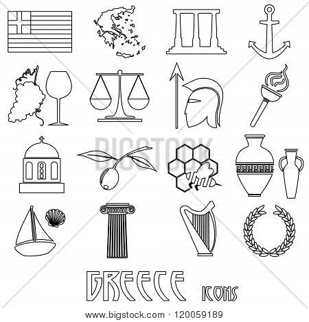 Greece Country Theme Symbols And Outline Icons Set Eps10