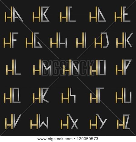 Letter H with alphabet
