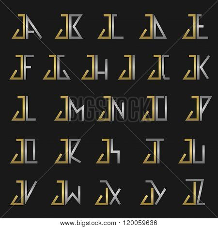 Letter J with alphabet