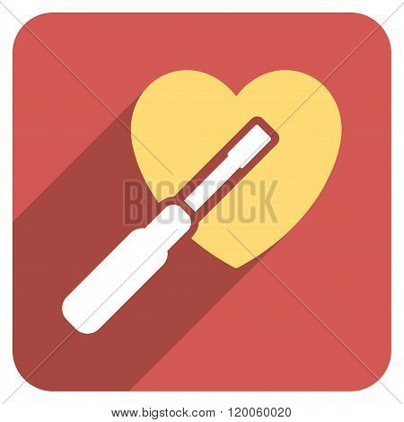 Heart Tuning long shadow vector icon. Style is a flat symbol on a red rounded square button. poster