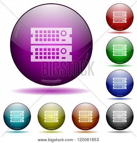 Rack Servers Glass Sphere Buttons