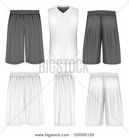 Basketball shorts, front, back and side views and front view basketball tank. Fully editable handmade mesh. Vector illustration.