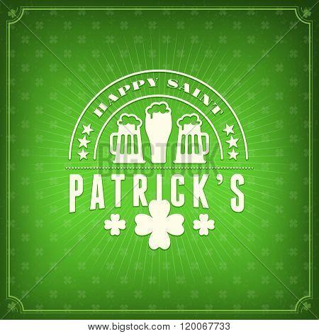 St. Patricks Day Holiday Badge Design. Vector Greetings Card Design. Saint Patricks Day Background.