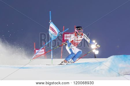 STOCKHOLM SWEDEN - FEB 23 2016: Frida Hansdotter (SWE) skiing at the FIS Alpine Ski World Cup - Men's and Woman's city event February 23 2016 Stockholm Sweden
