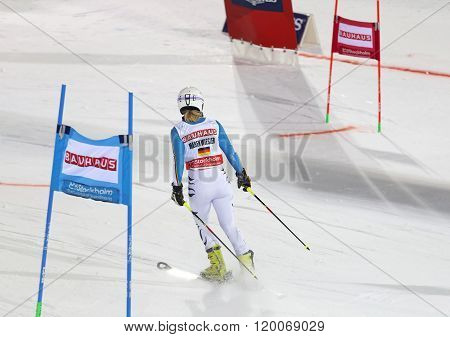 STOCKHOLM SWEDEN - FEB 23 2016: Maren Wiesler (GER) skiing at the FIS Alpine Ski World Cup - Men's and Woman's city event February 23 2016 Stockholm Sweden