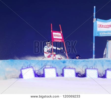 STOCKHOLM SWEDEN - FEB 23 2016: Skier Lara Gut (SUI) at the FIS Alpine Ski World Cup - city event February 23 2016 Stockholm Sweden