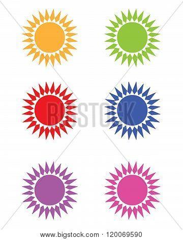 Vector Sunshine Frame and Design Element Set