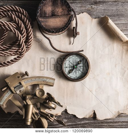vintage still life with compass and sextant