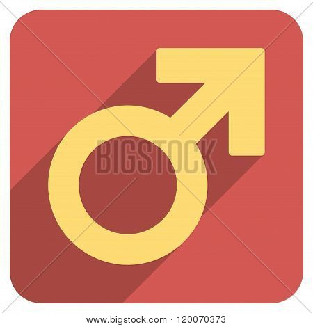 Male Symbol Flat Rounded Square Icon with Long Shadow