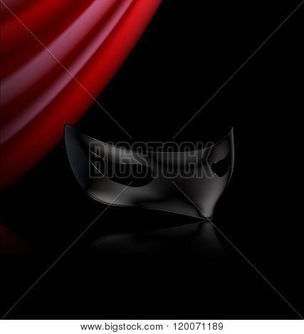 dark mask and red drape