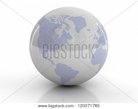 Globe with Binary Code. Image with clipping path